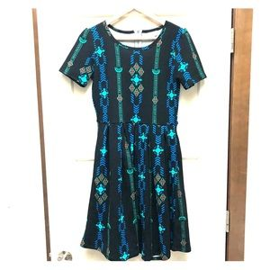 Fit + Flare Deco Holiday Amelia Dress EUC Lularoe